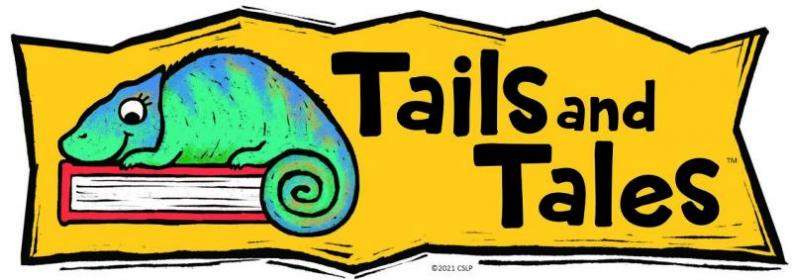 """Banner with text """"Tails & Tales"""" and illustration of chameleon on a book"""