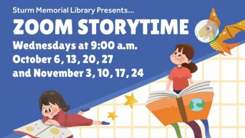 """Picture of children reading and text """"Zoom Storytime Wednesdays at 9:00 a.m. October 6, 13, 20, 27 and November 3, 10, 17, 24. Registration required. Contact the Library at 920-596-2252 for more information."""